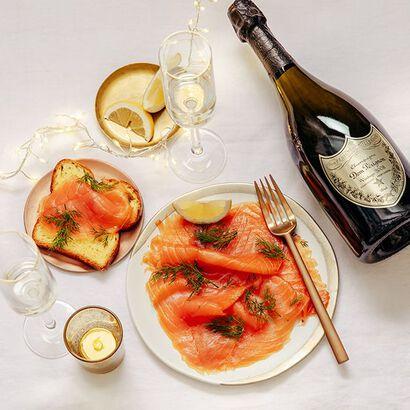 la grande épicerie de Paris - champagne et saumon