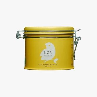 Ginger and lemon green tea, metal tin Lov Organic