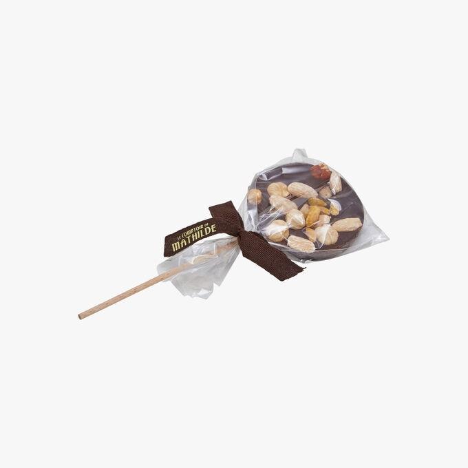 Sucette au chocolat noir mendiants Le Comptoir de Mathilde