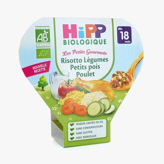 Plat complet adapté à l'enfant risotto légumes petits pois poulet HiPP