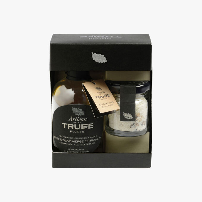 Box set of olive oil perfumed with black truffle and mini Guérande IGP sea salt with summer truffle Artisan de la truffe