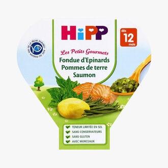 Plat complet biologique adapté à l'enfant Fondue d'épinards, pommes de terre, saumon HiPP