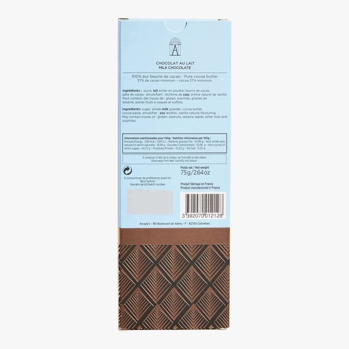 Milk chocolate bar 37% cocoa Angelina