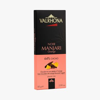 Manjari bar, dark chocolate 64 % with orange chips Valrhona