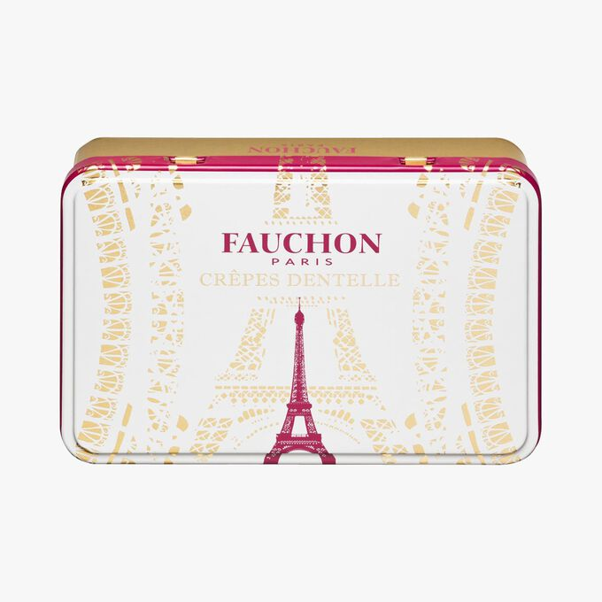 Assortment of crisp rolled 'crêpes dentelle' biscuits in a metal box Fauchon