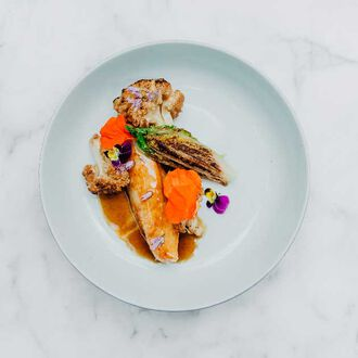 """Rock the John Dory"": John Dory with smoked paprika, confit cauliflower and braised lettuce, , hi-res title=""Rock the John Dory"": John Dory with smoked paprika, confit cauliflower and braised lettuce,"