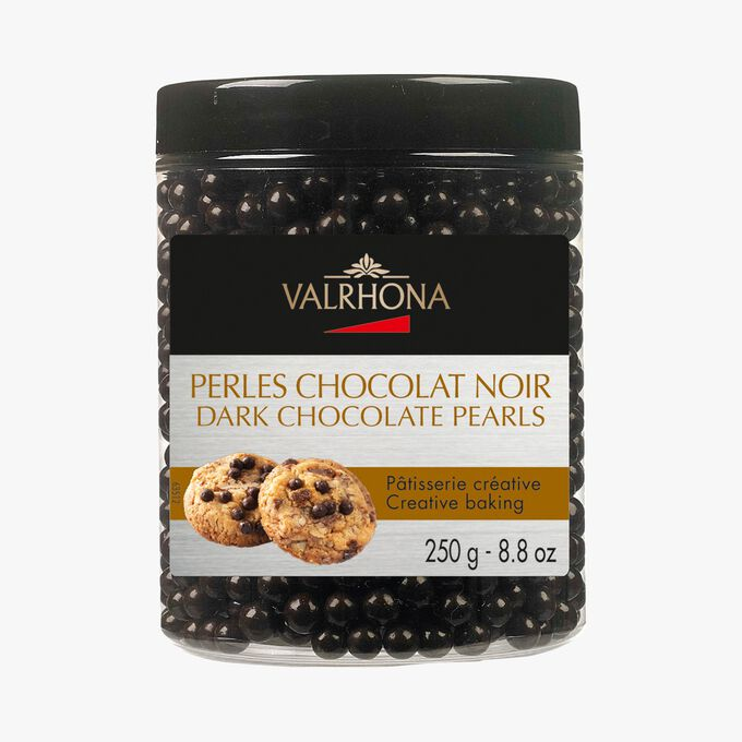 Perles de chocolat noir (55% de cacao minimum, pur beurre de cacao) Valrhona