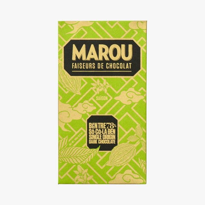 Tablette de chocolat noir du Vietnam, Ben Tre, 78% de cacao Marou