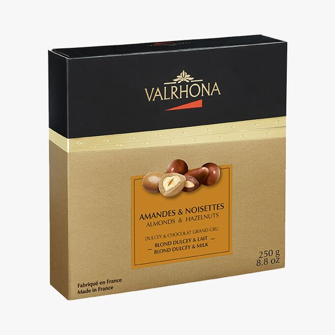 Coffret Amandes et noisettes Blond Dulcey et Grand cru chocolat blanc Valrhona
