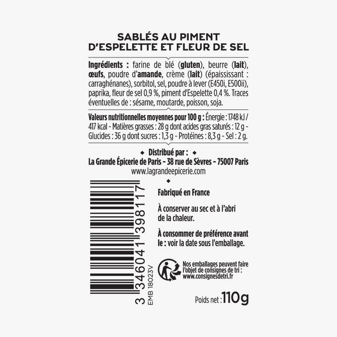 Sablés au piment d'Espelette et fleur de sel La Grande Épicerie de Paris