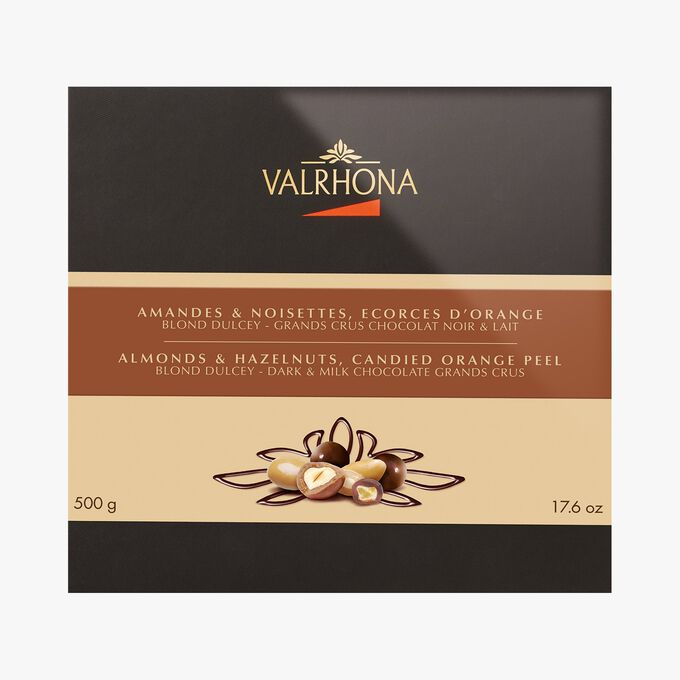 Box of almonds, hazelnuts and orange peel  Valrhona