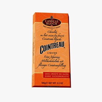 Fine Swiss milk chocolate filled with liquid Cointreau Camille Bloch