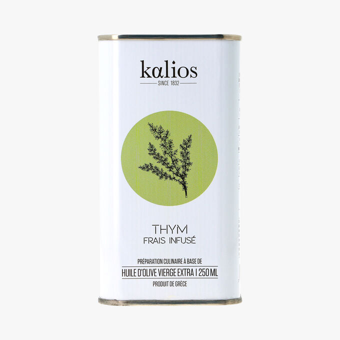 Thym frais infusé, préparation culinaire à base d'huile d'olive vierge extra Kalios