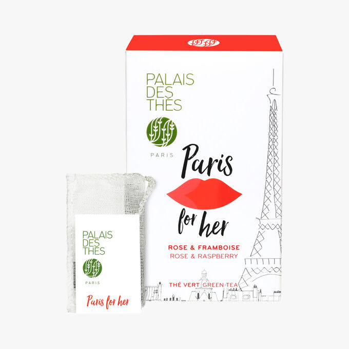 Paris for her, green tea, rose, raspberry, 20 muslin teabags Palais des Thés