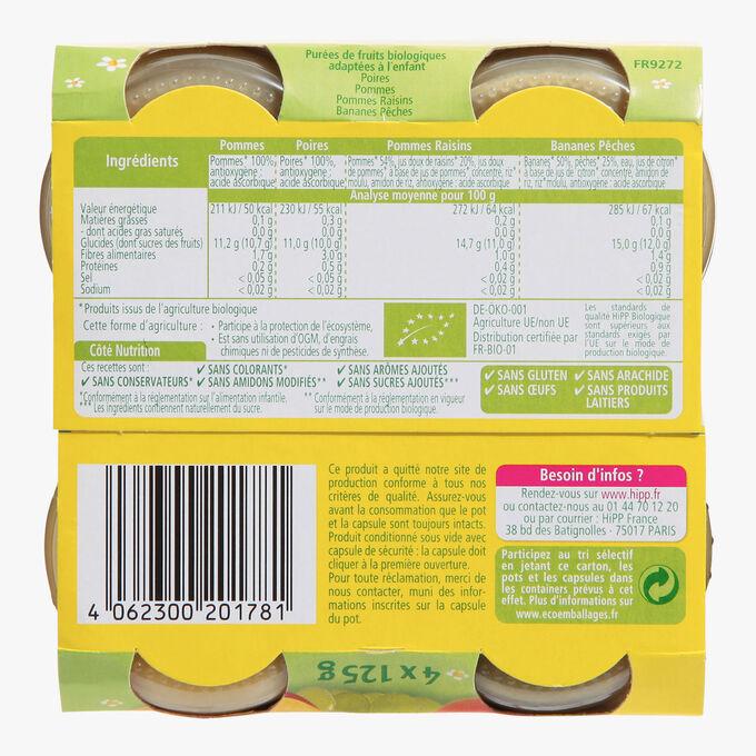 4 small jars of organic fruit puree for babies HiPP