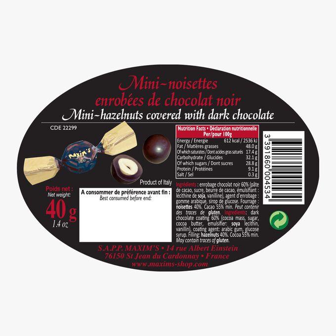Mini boîte ovale noire noisettes chocolat noir Maxim's