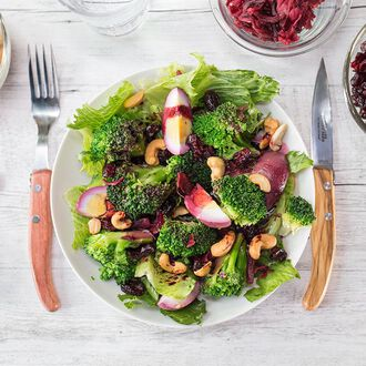 Broccoli salad with hibiscus flower, , hi-res title=Broccoli salad with hibiscus flower,