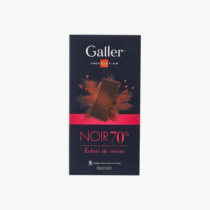 Chocolat noir 70% éclats de cacao Galler