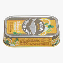 Cooked sardines to enjoy hot with lemon confit and coriander Conserverie la Belle-Iloise