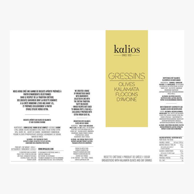 Gressins - Olives kalamata & flocons d'avoine Kalios