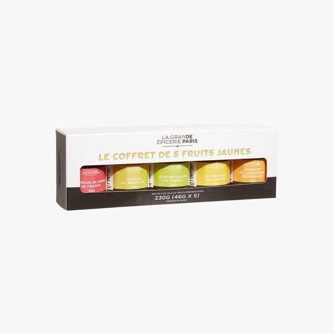 Gift set with 5 mini jars of fruit spread: Apricot, Mirabelle plum, Greengage, Pear and Peach La Grande Épicerie de Paris
