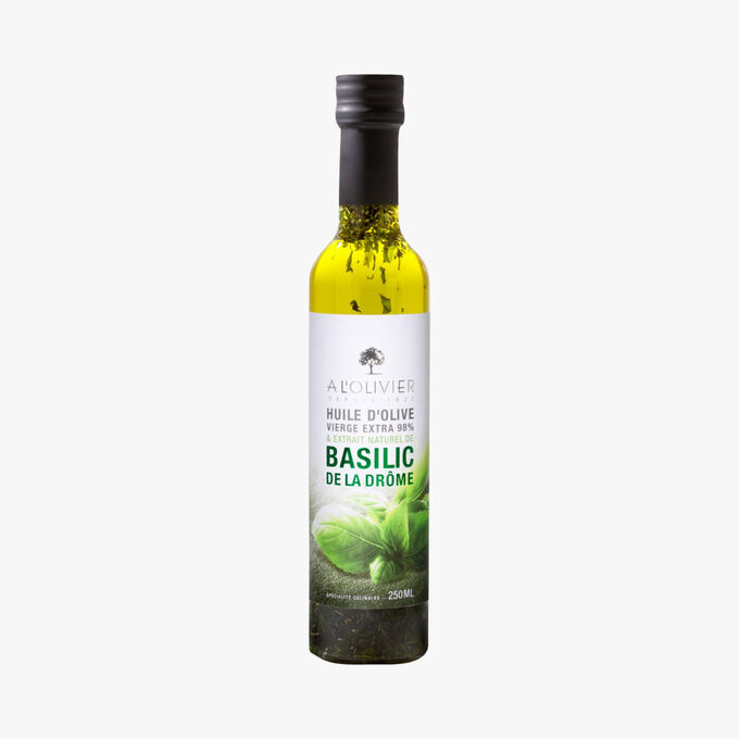 Extra virgin olive oil with a natural extract of Drôme basil A l'Olivier