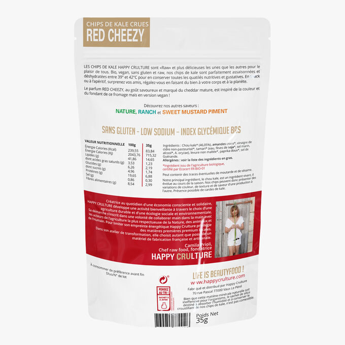 """Raw kale chips, """"red cheezy"""" Happy Crulture"""