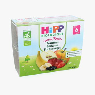 Fruit pots for babies: apples, bananas and berries HiPP
