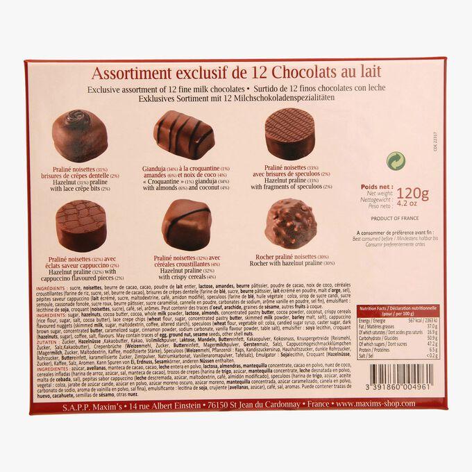 Assortiment exclusif de 12 chocolats au lait Maxim's