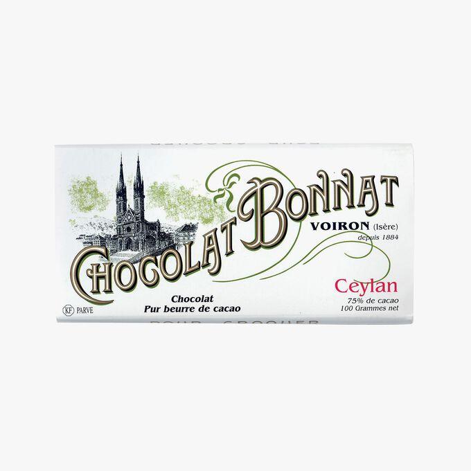 Tablette Ceylan Chocolat noir 75% de cacao Bonnat