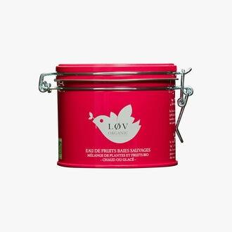 Wild Berry Fruit Water, metal tin Lov Organic