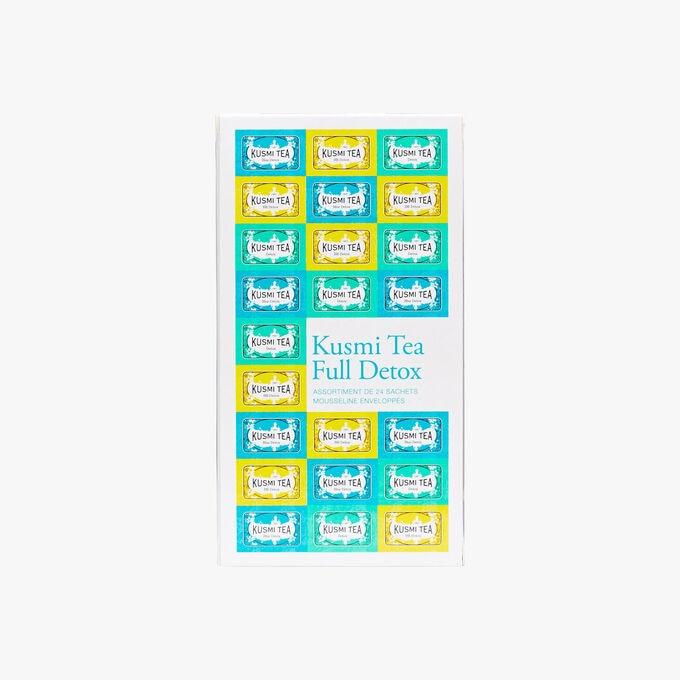 Full Detox assortment of 24 enveloped muslin teabags with blends of green tea, maté and aromatic herbs Kusmi Tea