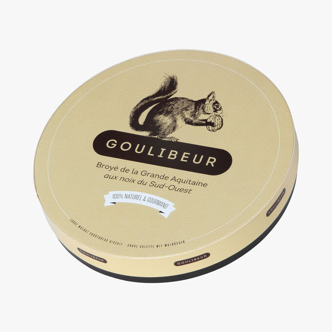 Large shortbread biscuit with walnuts in a tin Goulibeur
