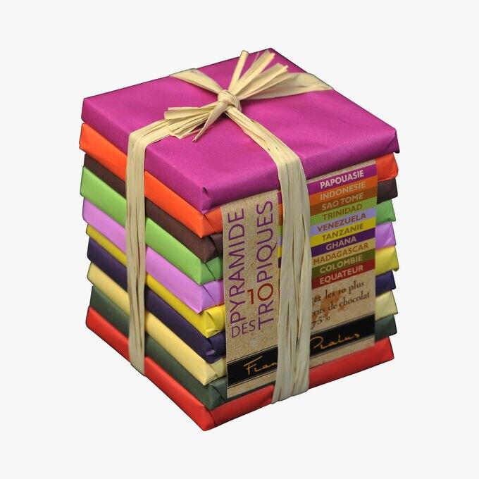 Pyramide des Tropiques - Assortiment de 10 tablettes de chocolat 75% cacao Pralus
