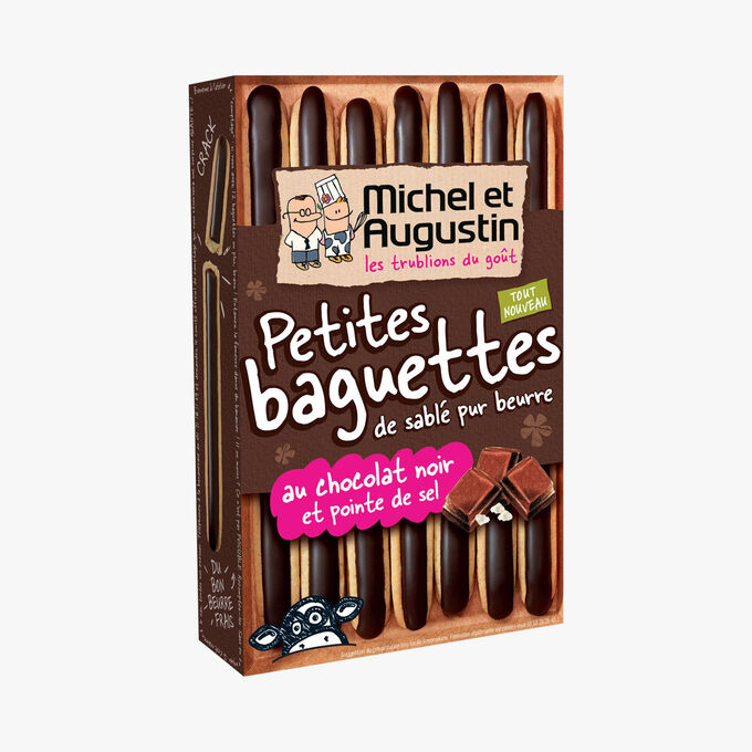 Little pure butter shortbread sticks with dark chocolate and a hint of salt Michel et Augustin