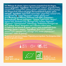 Lov in Mind, a box of 20 muslin tea bags of Moringa, Ginger, Turmeric, Dragon fruit Lov Organic