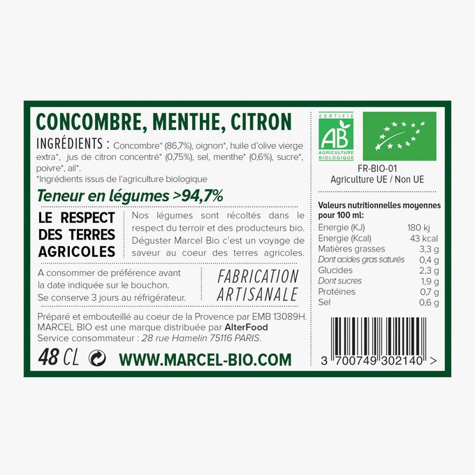 Organic cucumber, mint and lemon soup Marcel Bio