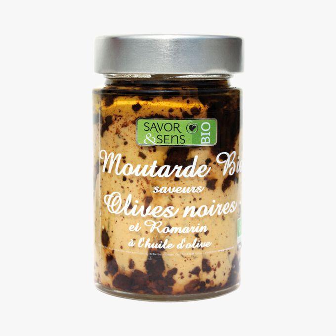Préparation alimentaire bio à base de moutarde, olives noires et Romarin à l'huile d'olive Savor & Sens