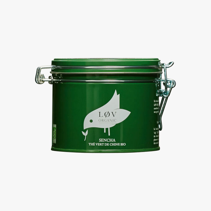 Sencha Chinese organic green tea, metal tin Lov Organic