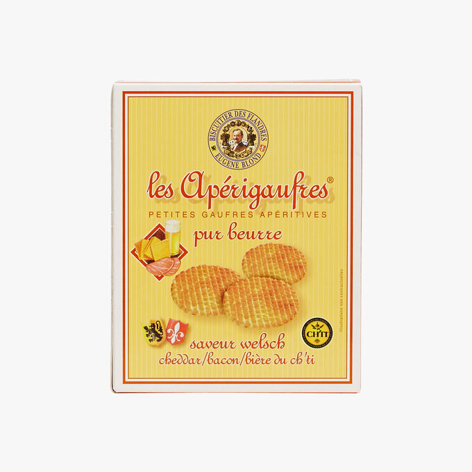 Small bacon and Cheddar-flavoured pure butter waffles Biscuiterie Eugène Blond