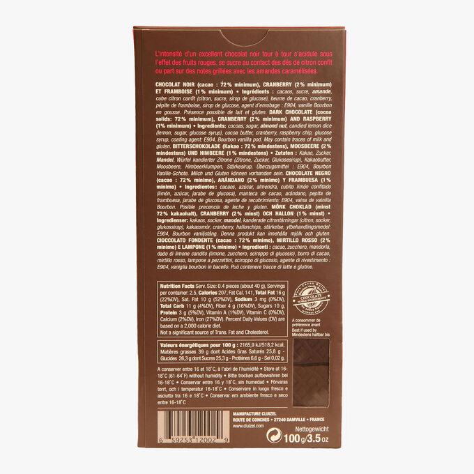 Tablette noir 72% framboise cranberry Michel Cluizel