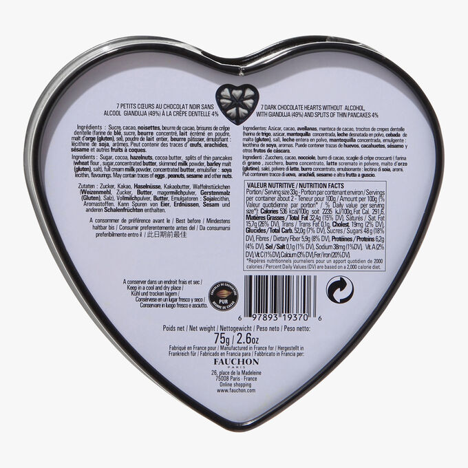 Black heart box, dark chocolate Fauchon