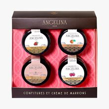 Box of assorted jams and chestnut spread Angelina
