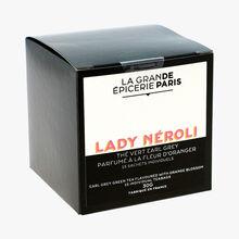 Lady Néroli thé vert Earl Grey parfumé à la fleur d'oranger 15 sachets individuels La Grande Épicerie de Paris