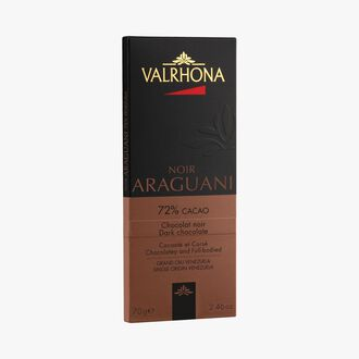 Araguani bar, dark chocolate 72 % minimum cocoa, pure cocoa butter Valrhona