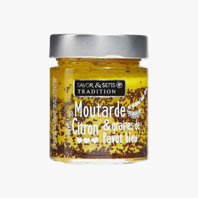 Lemon-flavoured mustard with blue poppy seeds Savor & Sens