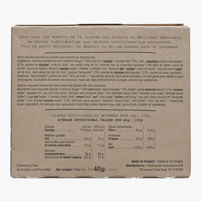 Barre Bio de Granola Chocolat & Graines SuperNature Catherine Kluger