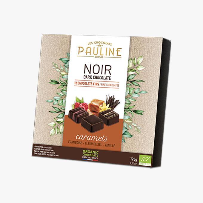 Noir, 16chocolats fins, caramels, framboise, fleur de sel, vanille Les Chocolats de Pauline