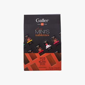 Assortment of mini-bars of dark, milk and white chocolate Galler