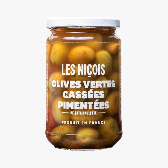 Olives vertes cassées pimentées de Tata Paulette Les Niçois